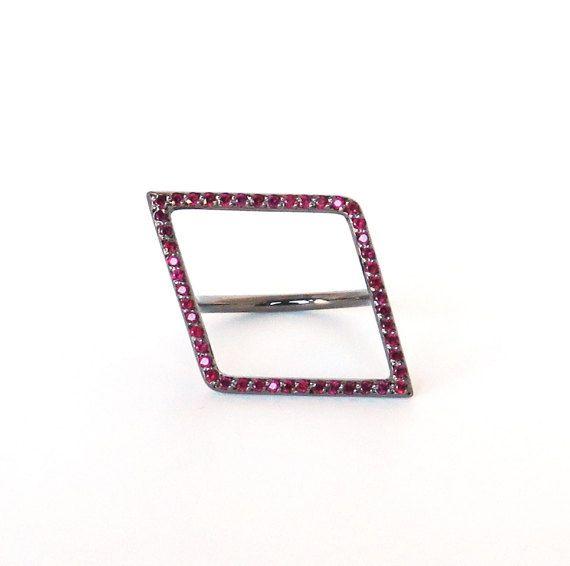 Ruby ring, Square diamond ring, Geometric gemstone ring, Geometric gold ring, Statement gold ring, Micropave gemstone ring, 14K, Sapphires