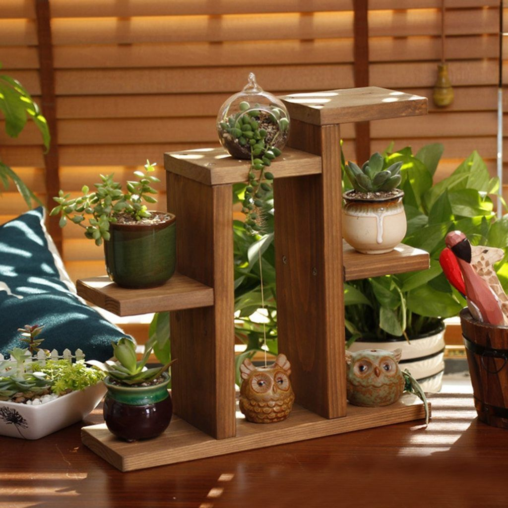 Tabletop Style Mini Hand Made Wooden Plant Stand Succulent Plants Office Flower Pot Frame Shelf Wooden Plant Stands Diy Plant Stand Wooden Plant Pots