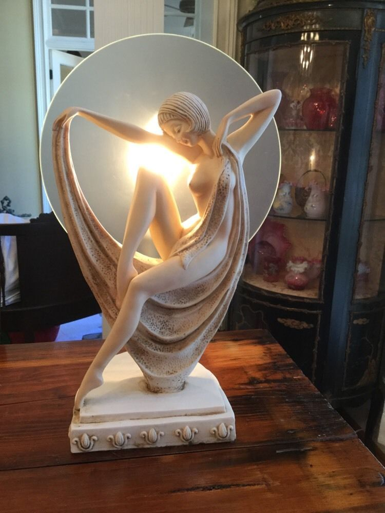 Art deco nude double lady table lamp