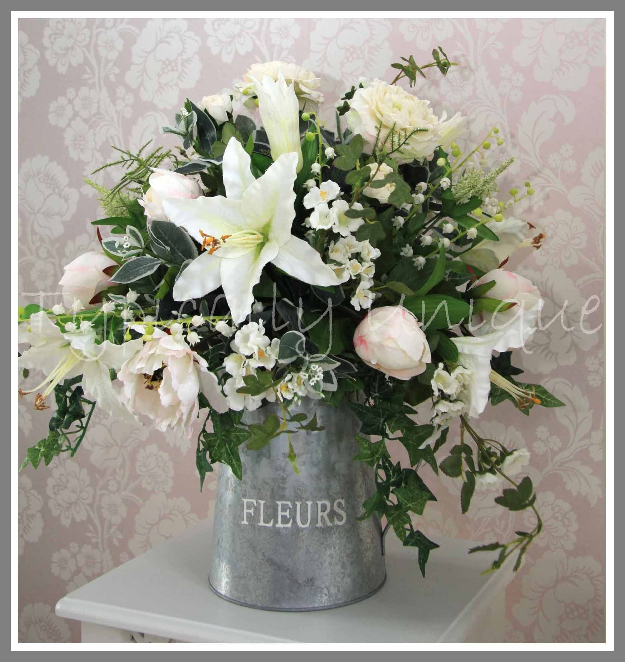 White Lilies And Pale Pink Peonies In Zinc Jug Artificial Silk