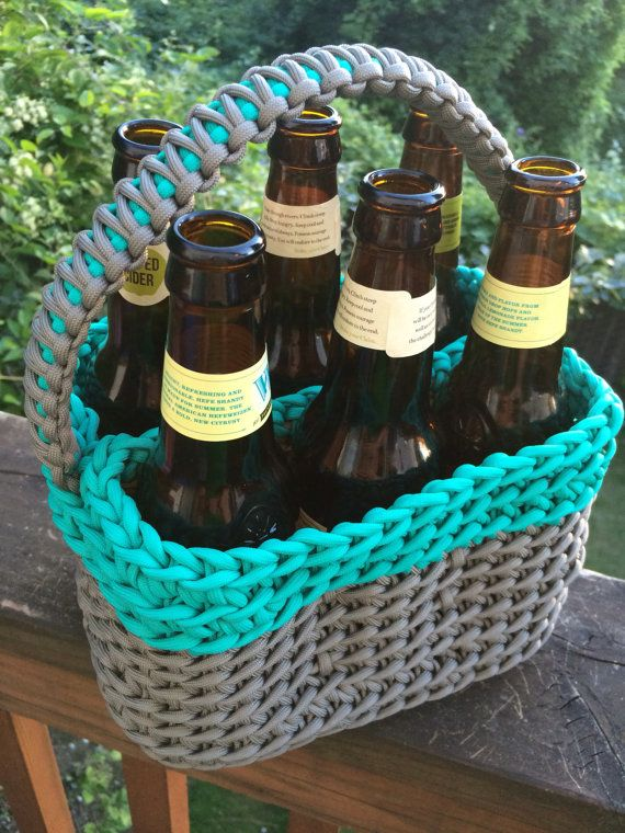 This Listing Is For One Six Pack Beer Carrying Case It Can Hold Bottles Or Cans We Have Been Super Excited To Finally Add Drink Carrier Crochet Beer 550 Cord