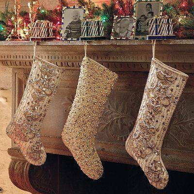 Chandelier Beaded Christmas Stocking Gold Christmas