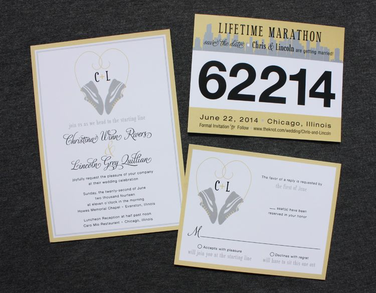 wedding invitations running theme themed race bib save the