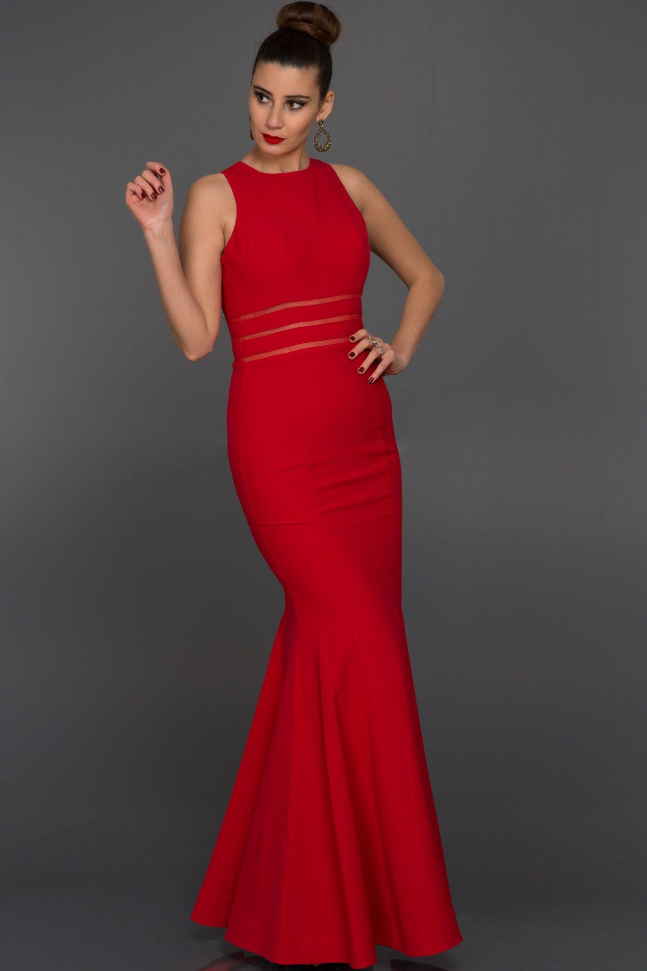 34f1585a7dbe8 Uzun Dekoltesiz Balık Abiye W6015 | Elbise | Kırmızı, Balık