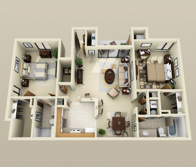 50 plans 3d d 39 appartement avec 2 chambres tiny houses house and apartments - Lay outs idee klein appartement ...