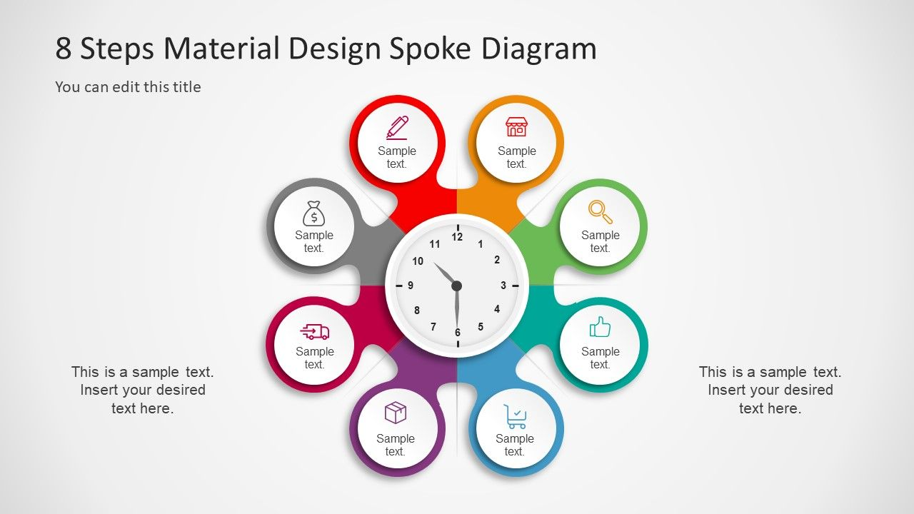 the 8 steps material design spoke diagram powerpoint template is an impressive presentation design of circular process flow this is an effective template [ 1280 x 720 Pixel ]