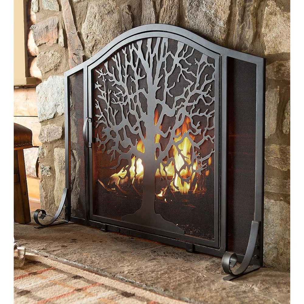 Plow Hearth Large Tree Of Life Fireplace Metal Fire Screen With Door Metal Fireplace Fireplace Screens Fireplace Guard