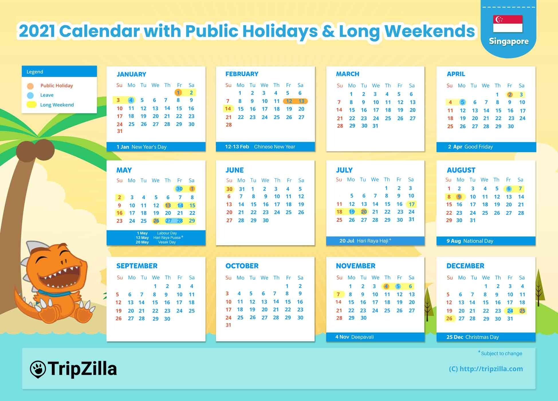 10 Long Weekends In Singapore In 2021 Bonus Calendar Cheatsheet In 2020 Long Weekend Calendar Holiday Calendar
