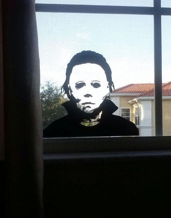 Michael myers decorations michael myers halloween vinyl wall or window sticker for your