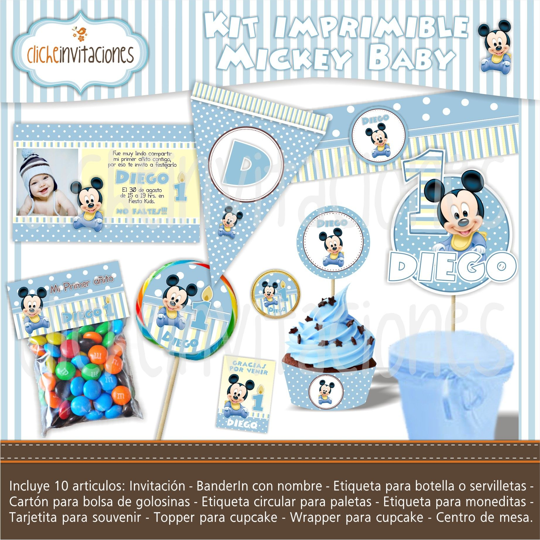 f37a2dada Kit imprimible Mickey Mouse Baby | Kit para fiestas en 2019 | Baby ...