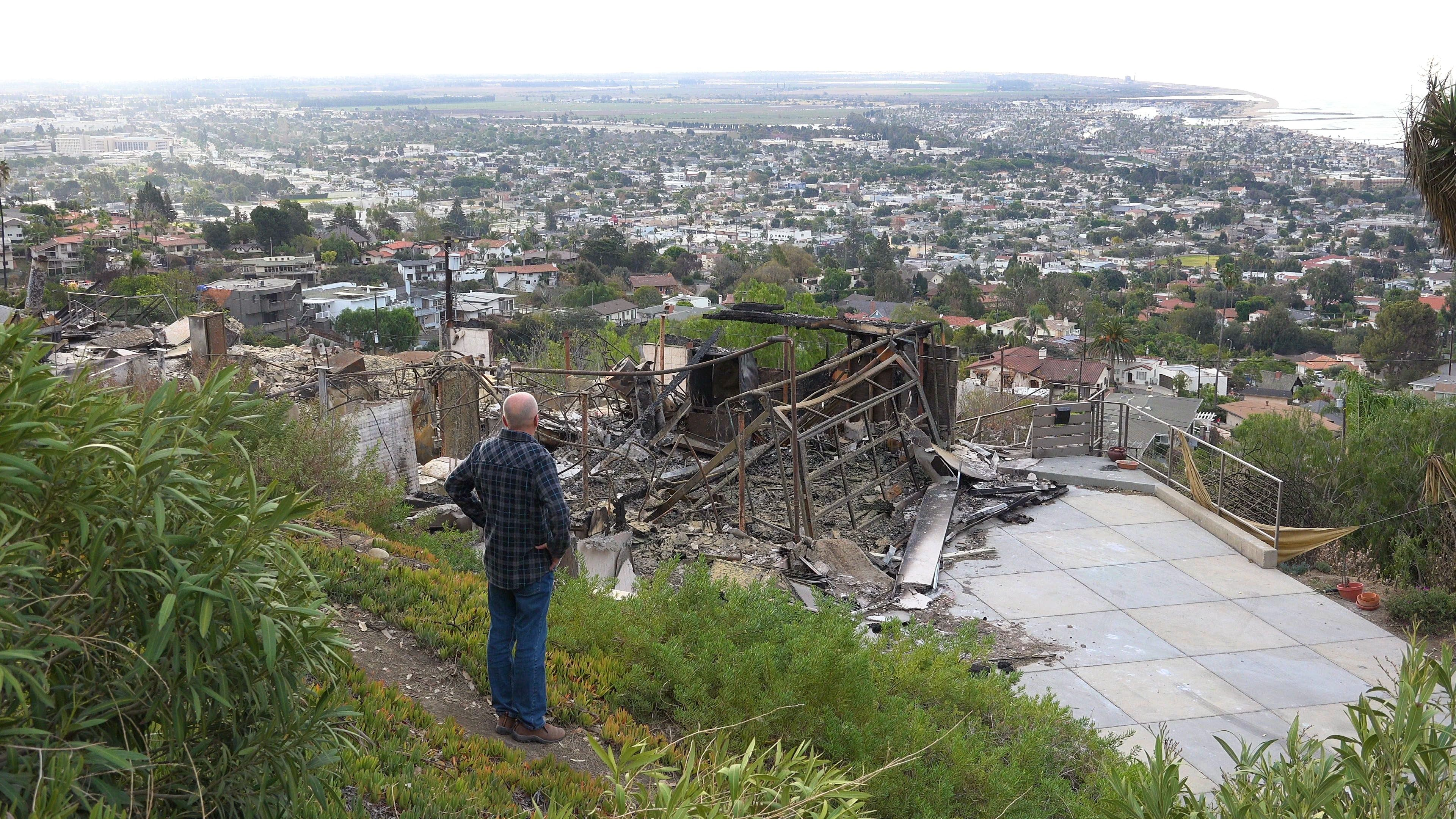 A Man Stands In Front Of A Burned Home After The Thomas Fire In Ventura Stock Footage Burned Home Front Man Stock Video Stock Footage Ventura