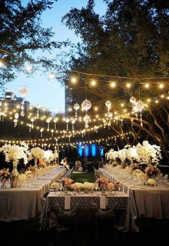 outdoor wedding reception by using hanging LED for lighting ideas