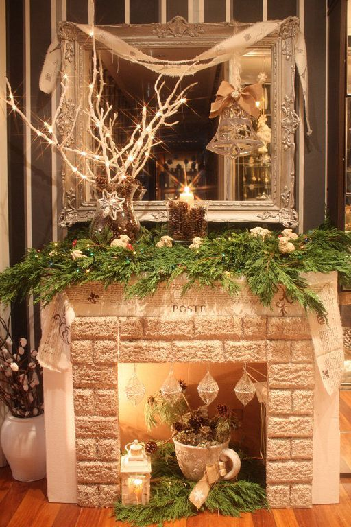Resultado de imagen para como hacer chimeneas navide as en for Fuego falso para chimenea