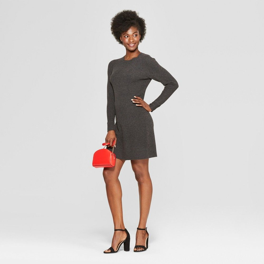 Slip into comfortable style with the Long-Sleeve Crewneck Sweater Dress  from A New Day. This waffle-knit sweater dress offers cozy texture and  detailing ... a2f9ff49c