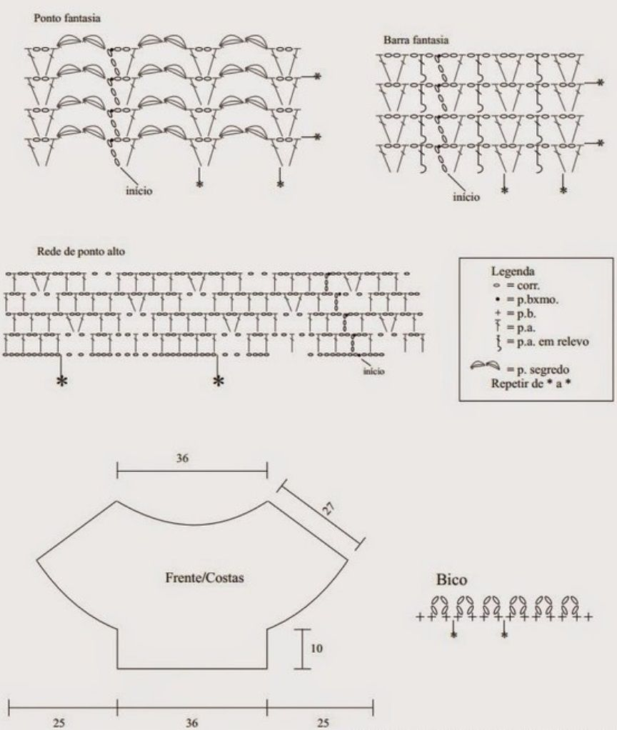Связать блузку крючком схема