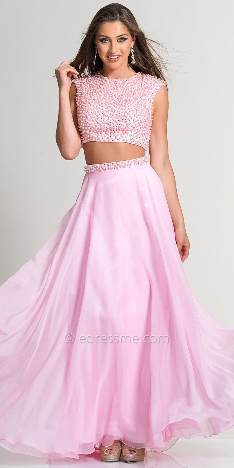 Pearl Two Piece Long Prom Dress by Dave and Johnny | Fashions ...