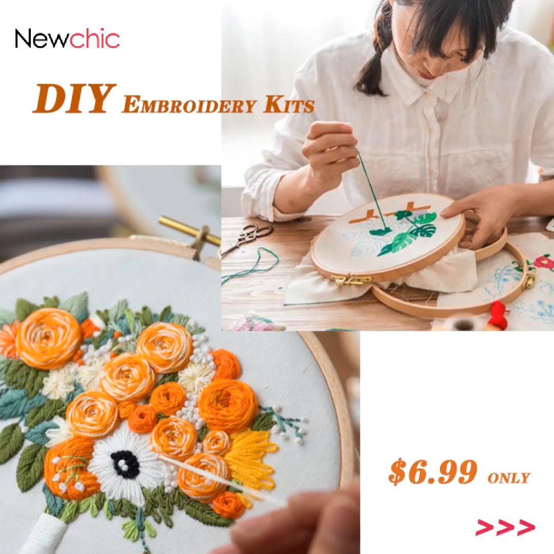 Photo of 3D Bouquet Flower Printed 3D DIY Embroidery Kits Art Sewing Knitting Package Han…