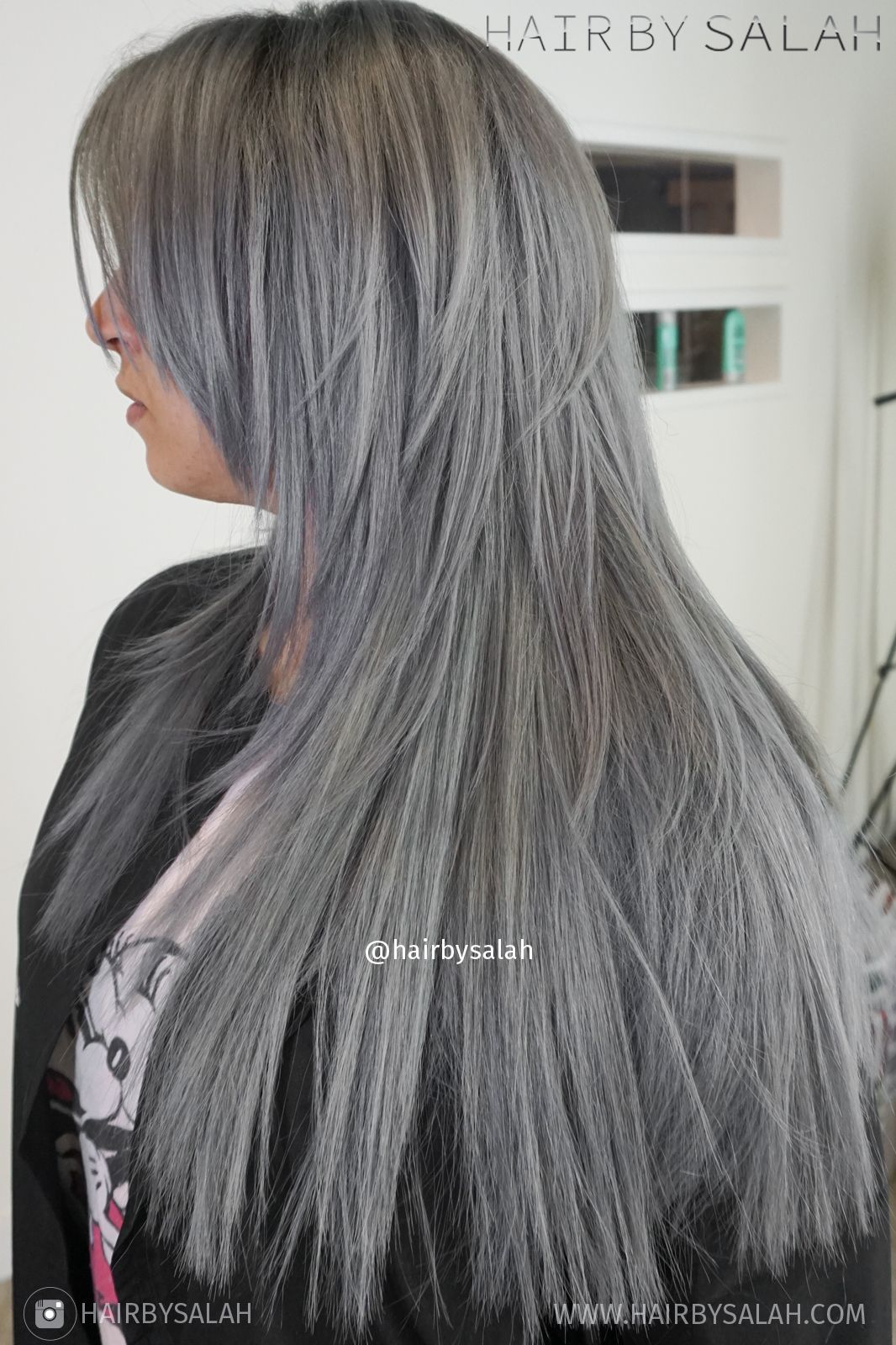 Gray Hair Colour with Darker Roots by Salah #hair #ashblonde ...