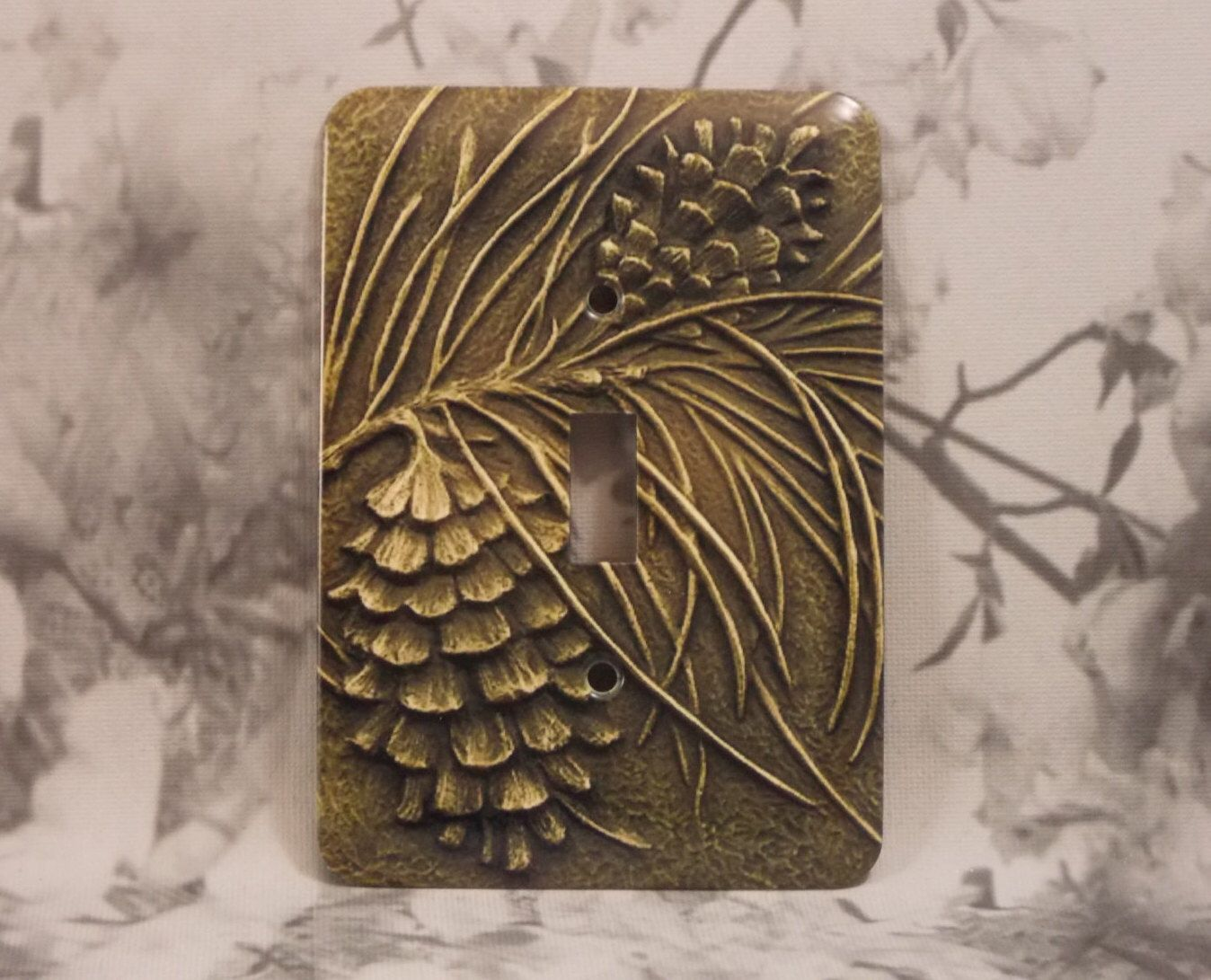 Pinecone Light Switch Cover Pine Cone Plate Single Toggle Metal By Dynastyprints