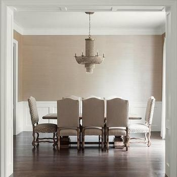 Taupe Dining Room With Wainscoting