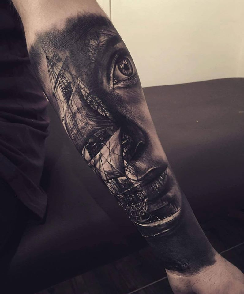 Ultimate Lower Arm Awesome Girl Face And Ship Tattoo | Lower Arm ...