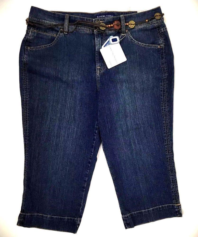 0eb2d0a49ce Bandolino Womens Jeans Capri Plus Size 18W Mid Rise Dark Wash Belted   Bandolino