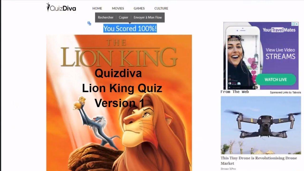 The Lion King Quiz Answers Quizdiva 100 Score Movie Quiz Lion