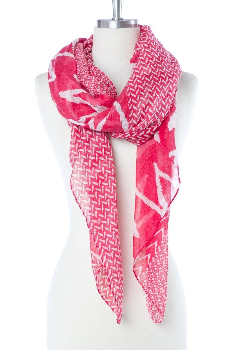 Tribal Zig Zag Scarf in Magenta / ShopSosie #tribal #zigzag #scarf #magenta #chevron #print #shopsosie