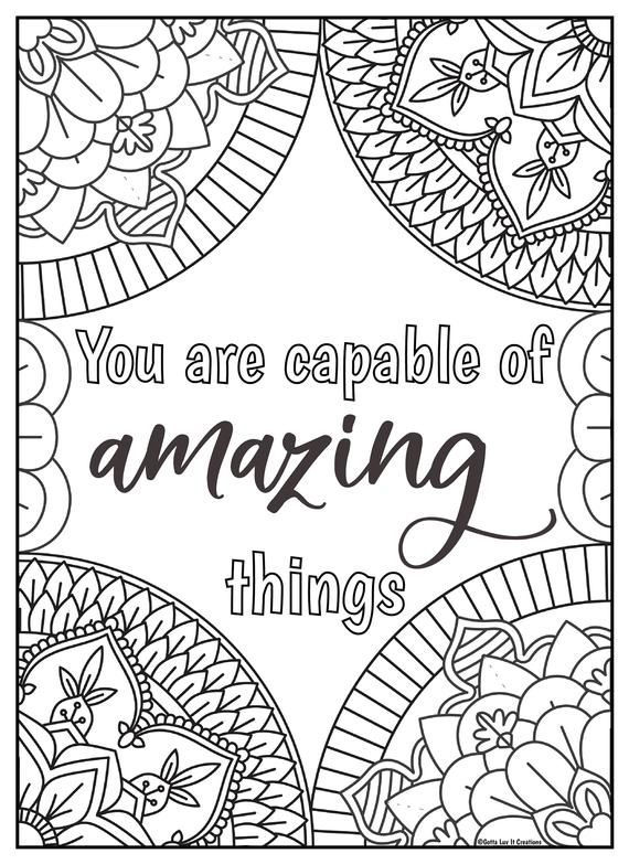 10 Mandala Motivational Coloring Pages 2 Etsy Quote Coloring Pages Coloring Pages For Grown Ups Coloring Pages Inspirational