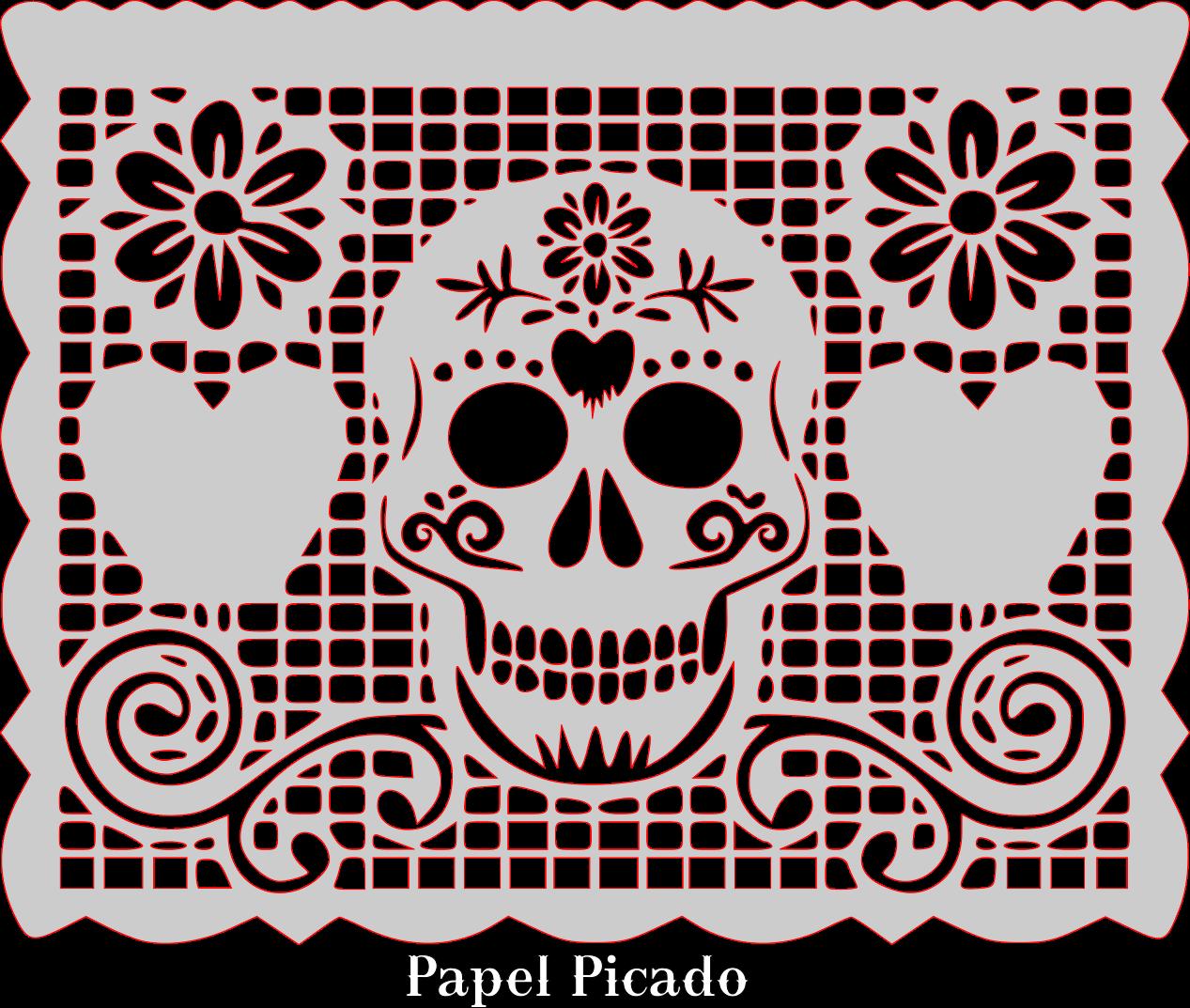 sugar skull papel picado pattern template scrollsawpatternandprojects party idea pinterest. Black Bedroom Furniture Sets. Home Design Ideas