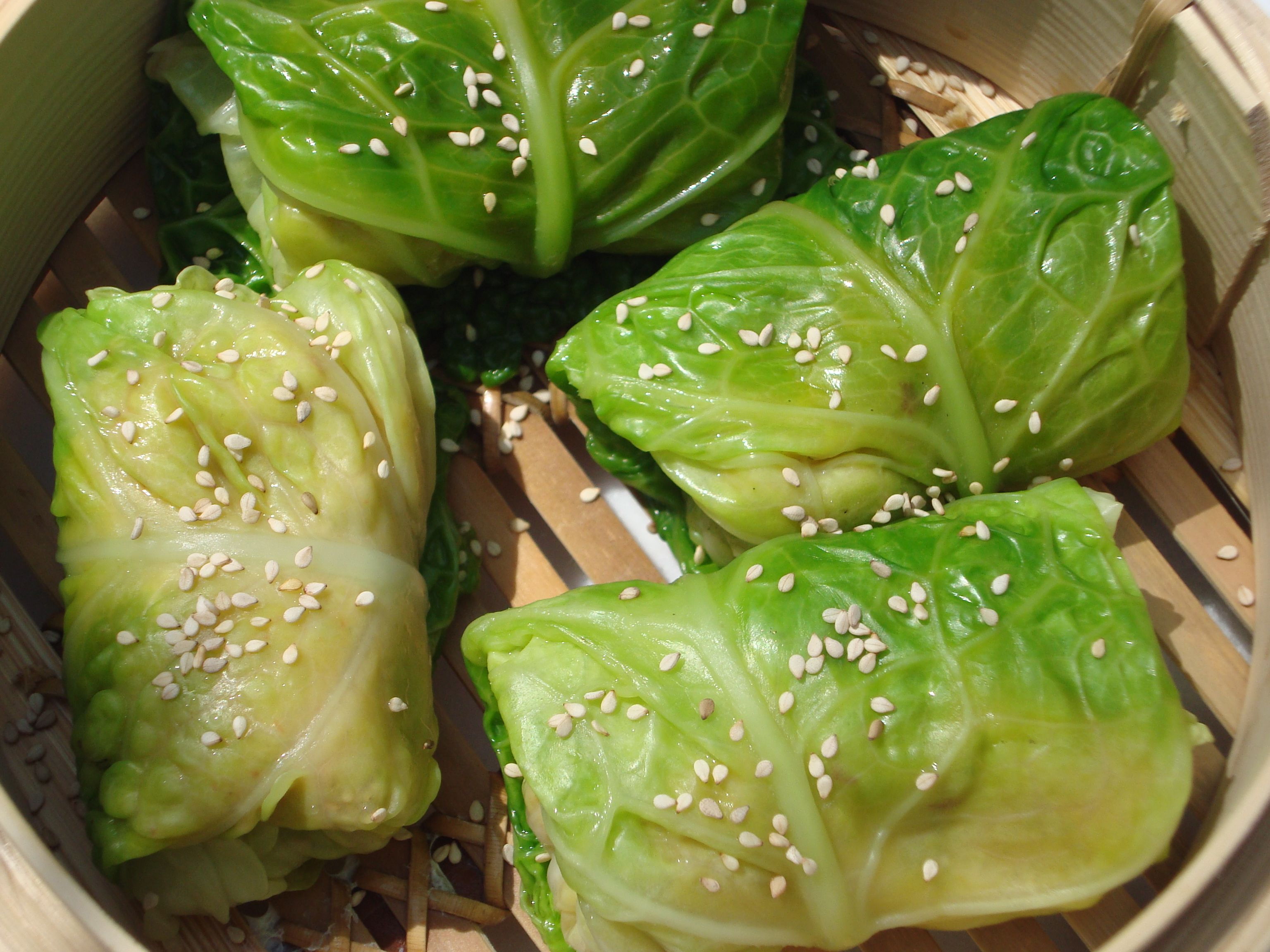 Steamed Chinese Cabbage Parcels Cabbage Chicken Spices Tasty Ingredients