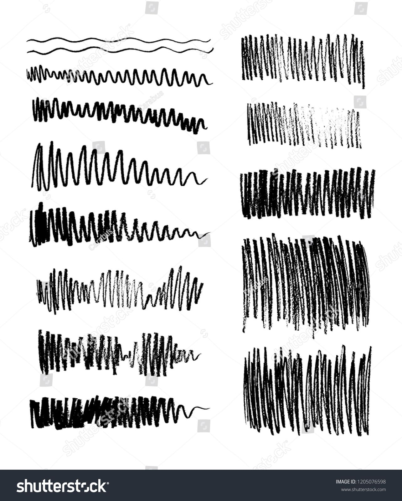 Set of vector grungy graphite pencil art brushes. Pencil
