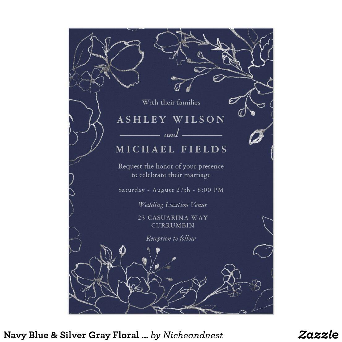 Navy Blue Silver Gray Floral Modern Wedding Invitation Zazzle Com Navy Wedding Invitations Navy Blue Wedding Invitations Blue Wedding Invitations