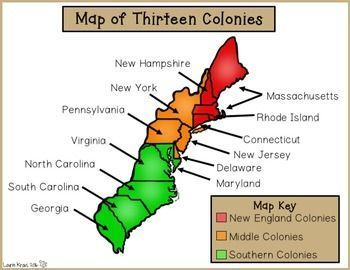 Thirteen Colonies New England Middle Southern Colonies