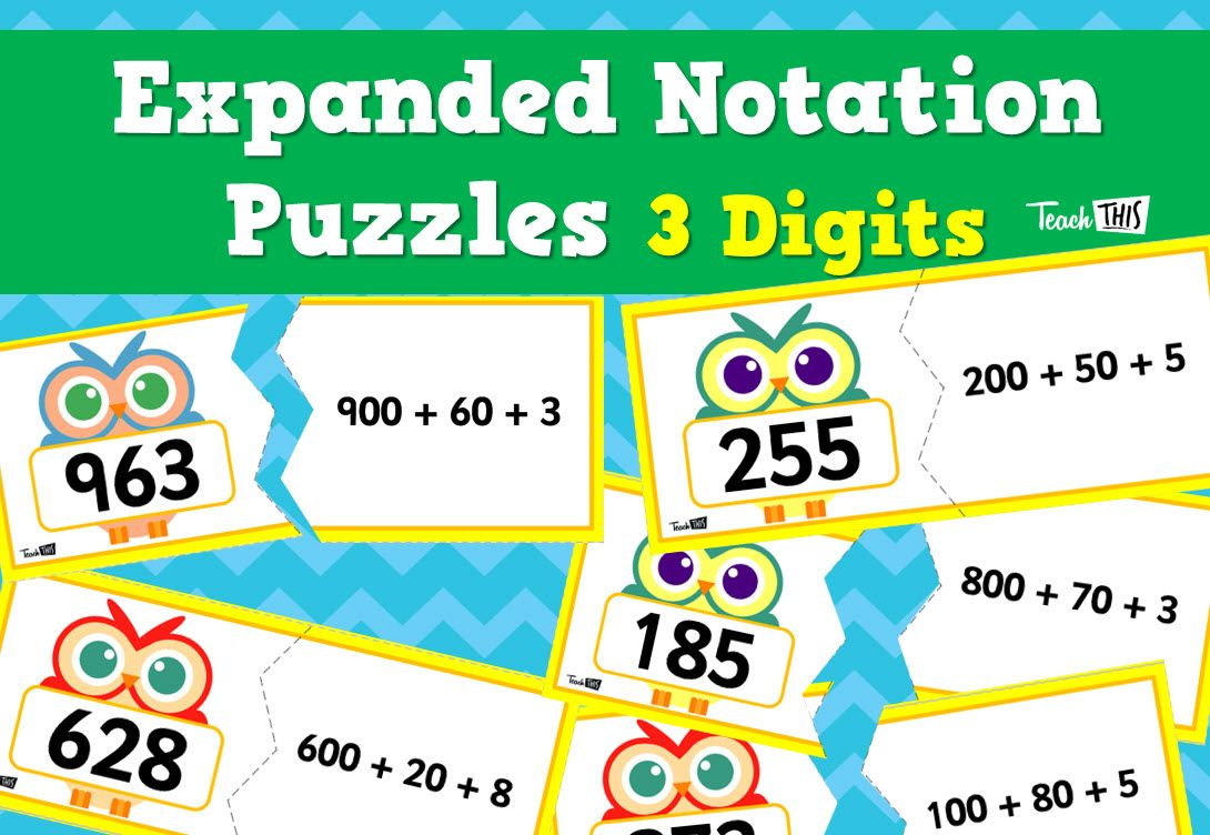 Expanded Notation Puzzle - 3 Digit | Number & Place Value ...