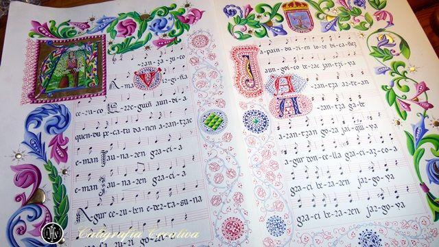 Trabajo de caligrafía e iluminación inspirado en la Virgen de Aránzazu con letra y música de su himno