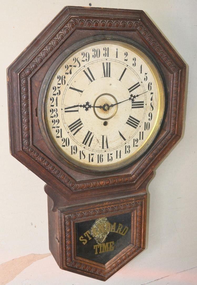 Antique Gilbert Standard Time 8 Day Time Wall Regulator