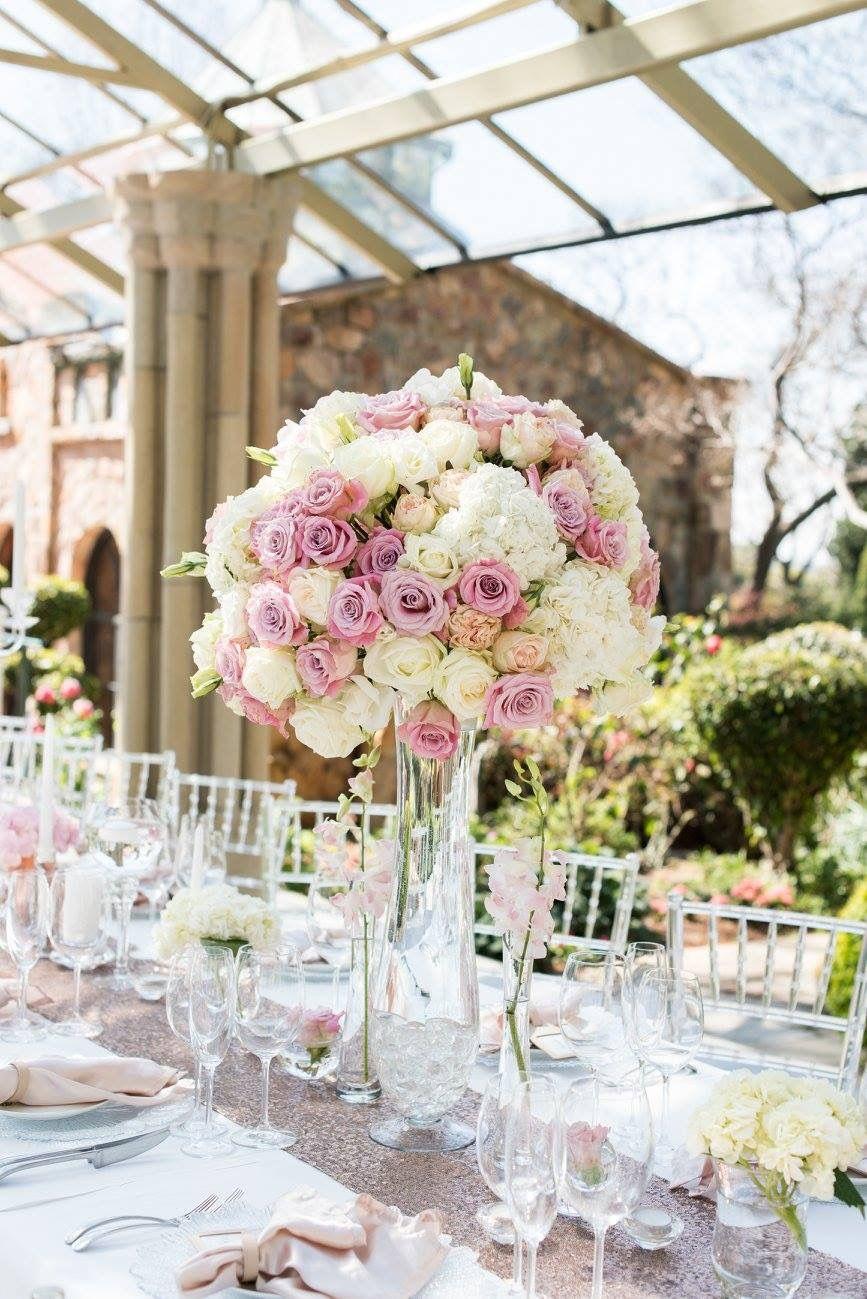 romantic and lush white and blush pink flower centerpieces using rh pinterest com Blush Flower Arrangements Blush Pink Bouquet