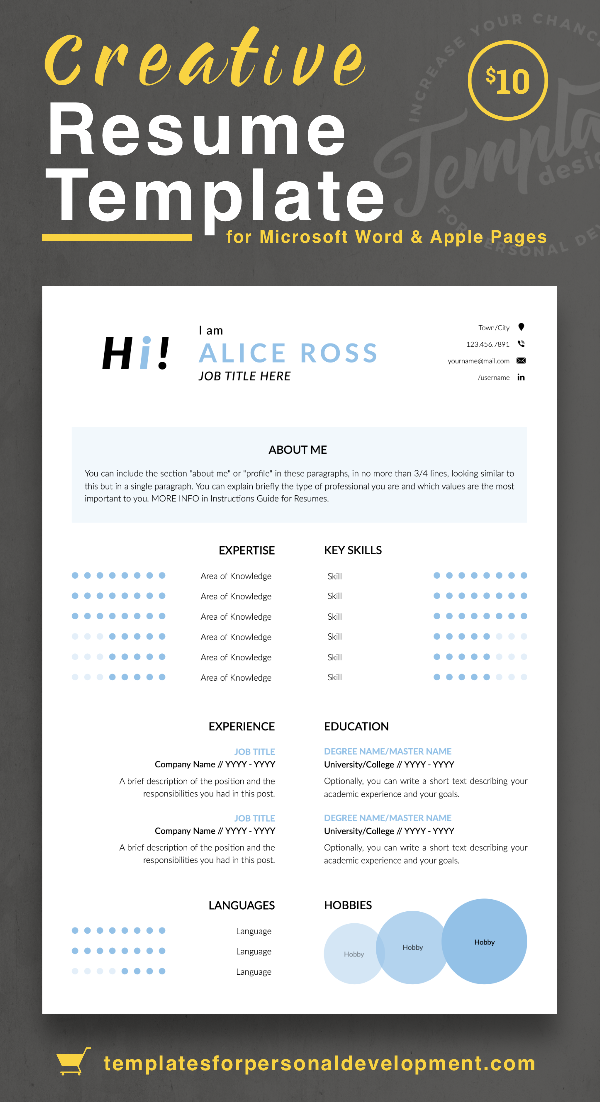 Alice Ross Creative Resume Cv Template For Word Pages Us Letter A4 Files 1 2 3 Page Resume Version Cover Letter References Cover Letter With Resume Templates Creative Resume Templates Resume