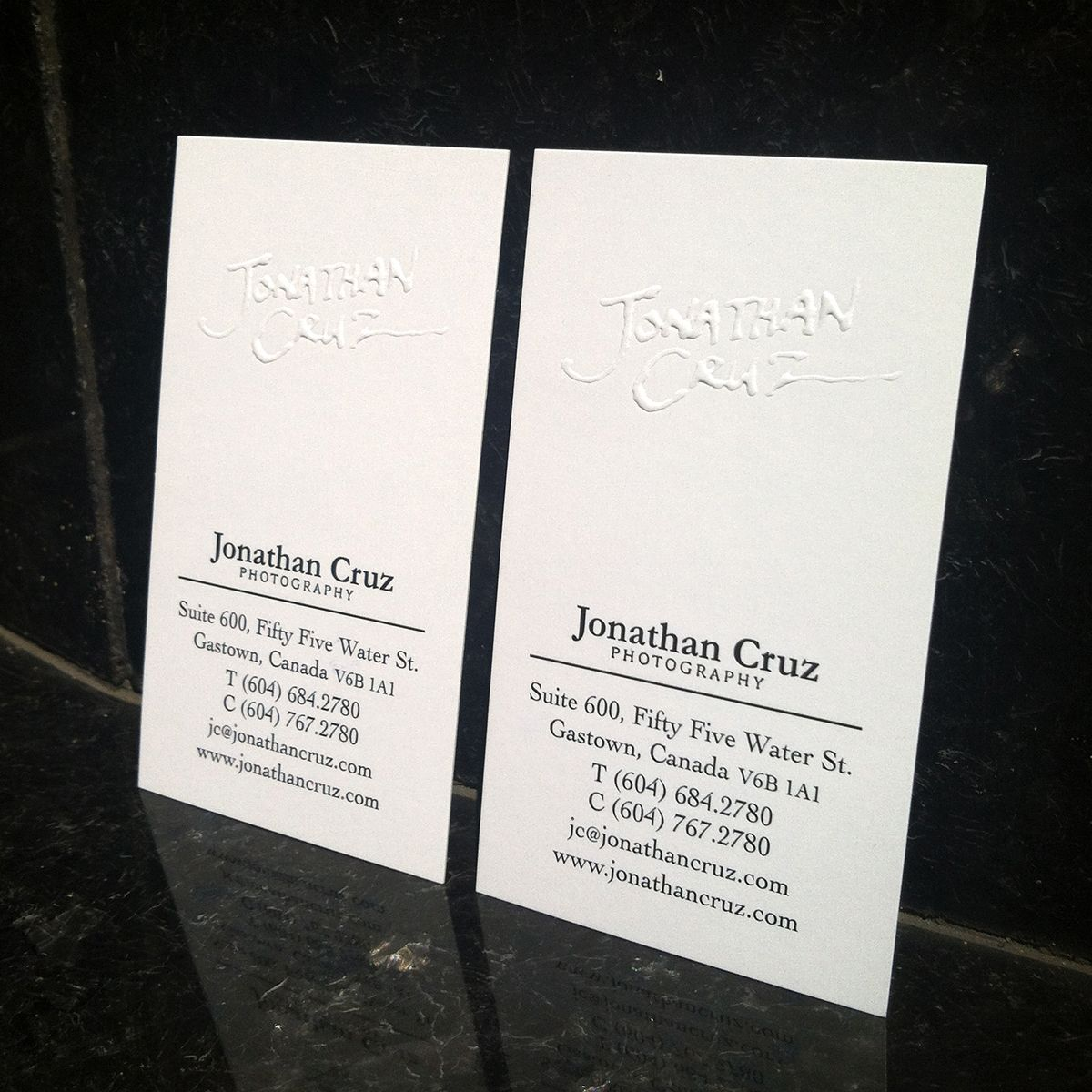 Blind Embossed Business Card for Jonathan Cruz Photography (www ...