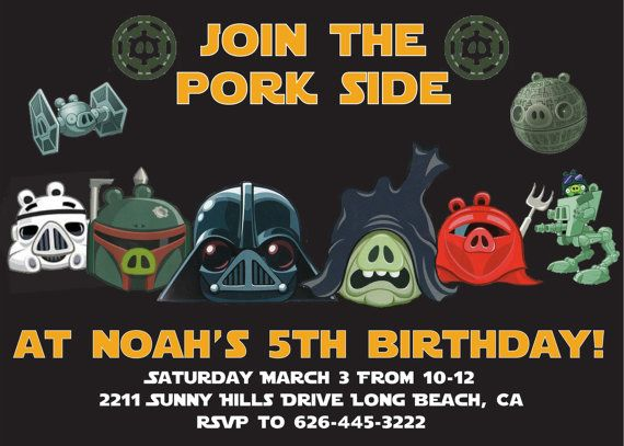 Star Wars Angry Birds Birthday Invitation The Pork By TheDesignDog 999