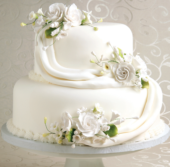 Stacked white w draped white fondant flowers wedding cakes stacked white w draped white fondant flowers mightylinksfo