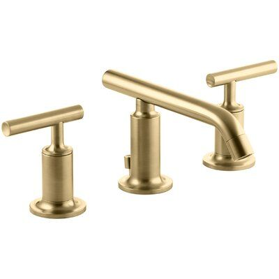 Photo of Puristic, widespread bathroom fitting with drain: Vibrant Modern Brushed Gold
