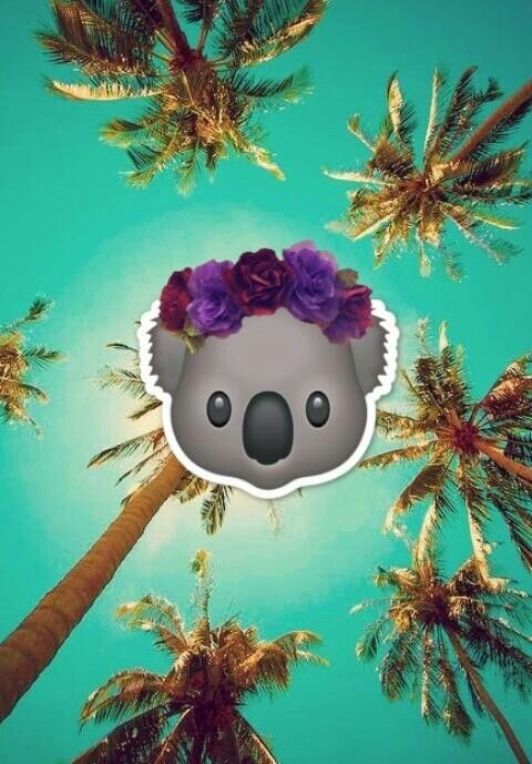 Tropical Koala With Headband Wallpaper Emoji Lovely Cute Kawaii