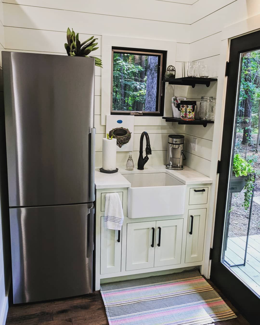 Timbercraft Tiny Homes On Instagram Even A Tiny Kitchen Can Have A Farm Sink Timbercrafted Tiny House Appliances Timbercraft Tiny Homes Tiny House Kitchen