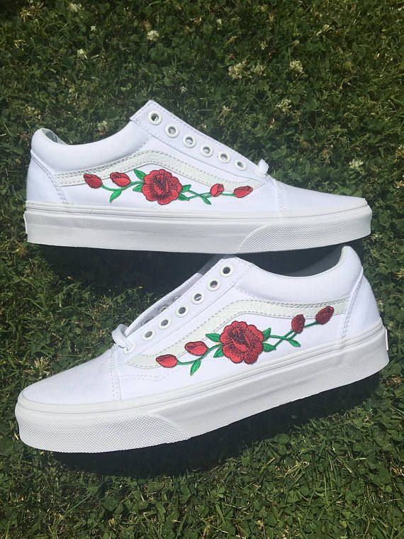 Custom Vans Red Pink Rose Old Skool Slip On Iron Black Hand Made One Of A Kind Men Women Gift DIY White Patch Tumblr Shoes