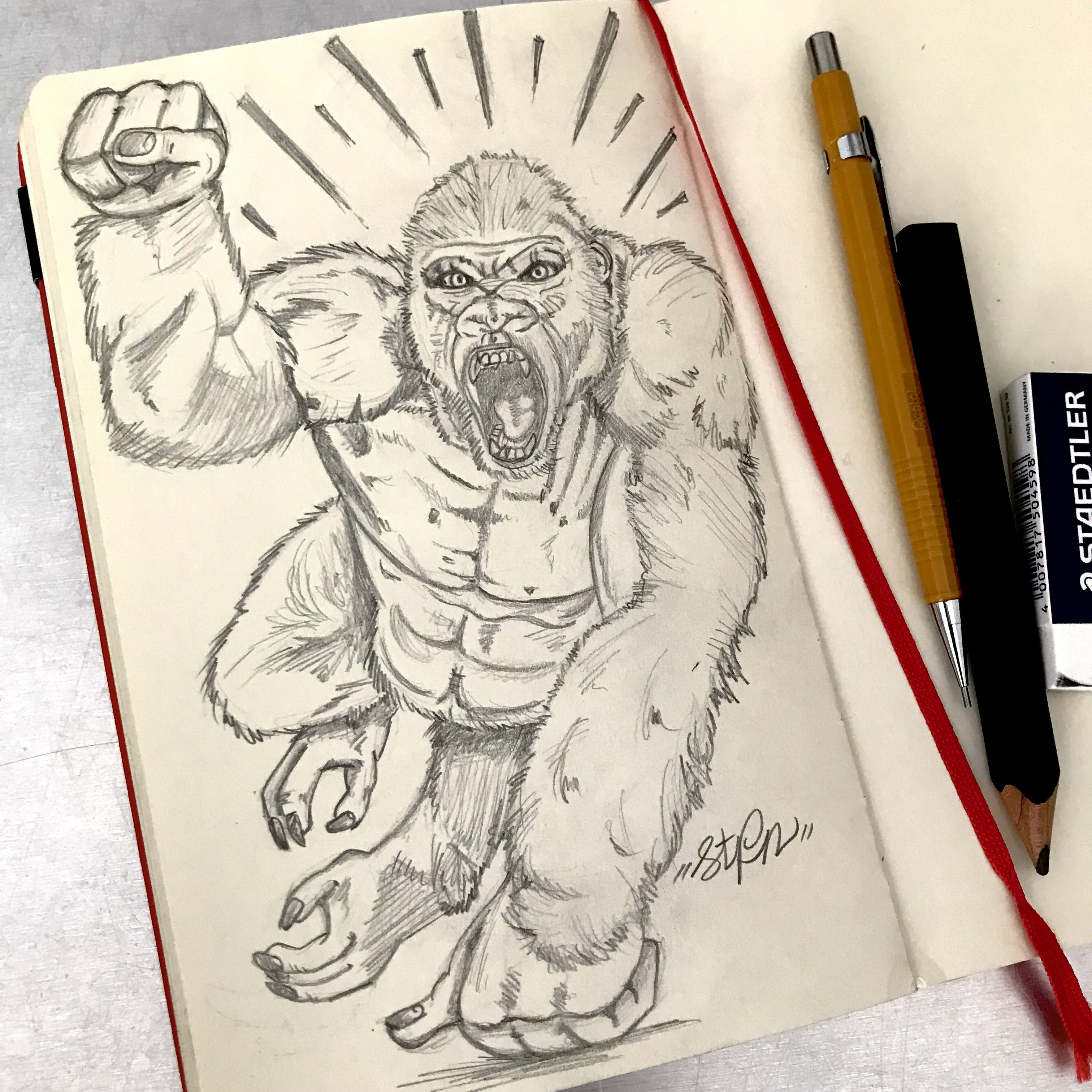Sketch Of The Albino Gorilla From The Movie Rampage