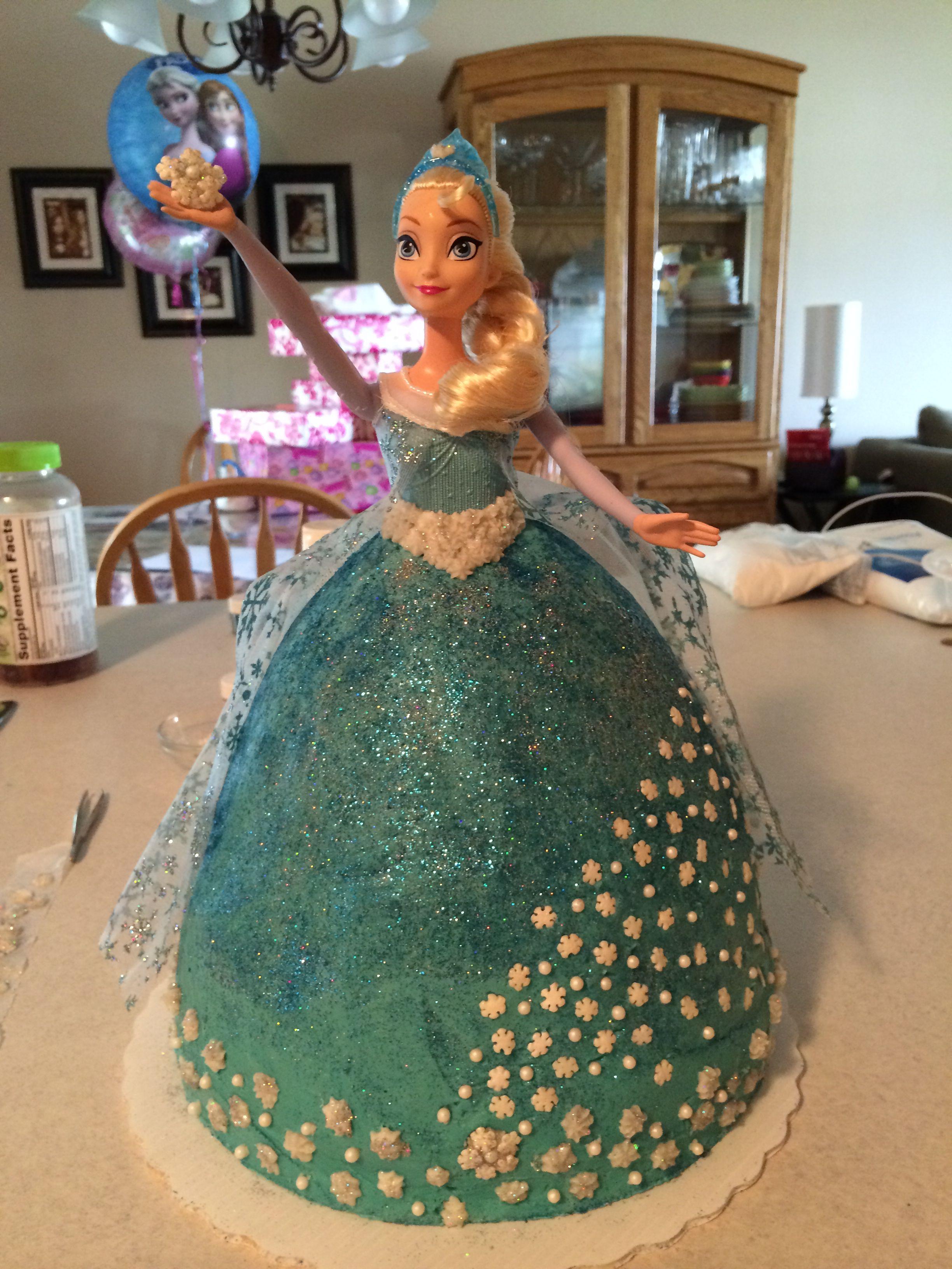 Elsa doll cake for granddaughter Didnt take bad either Dessert