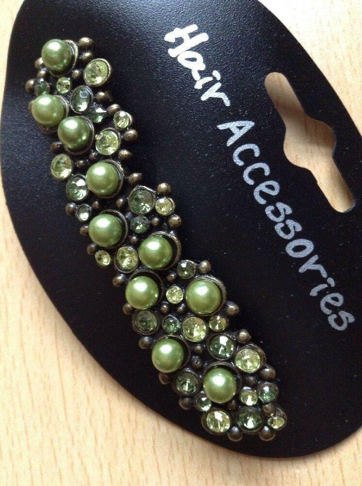 A Beautiful Green Pearl And Diamanté Metal Barrette Hair