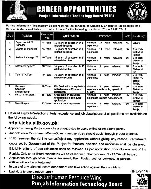 PITB Punjab Information Technology Board July 2017 Apply Online - trauma registrar sample resume